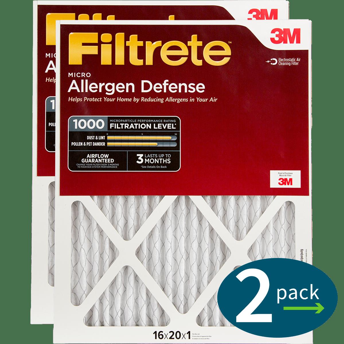 3m Filtrete 1-inch Micro Allergen Defense Mpr 1000 Air Filters - 2 Pack