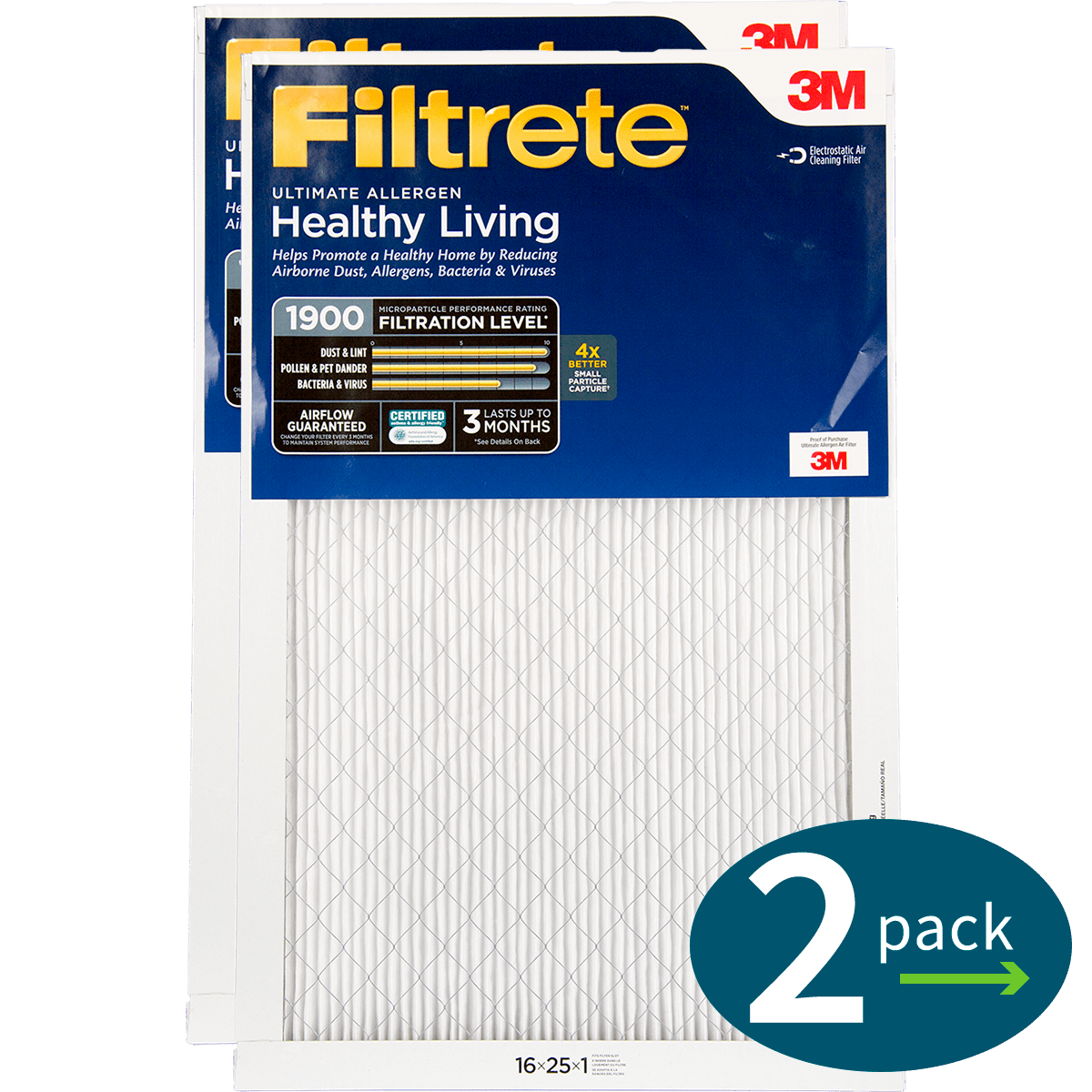 3M Filtrete Healthy Living 1900 MPR Ultimate Allergen Reduction Air Filters fi5342