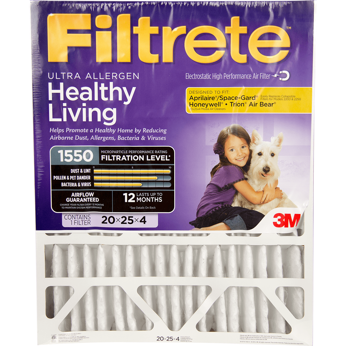 3m Filtrete Healthy Living 1550 Mpr 4-inch Ultra Allergen Reduction Filter 20x25x4