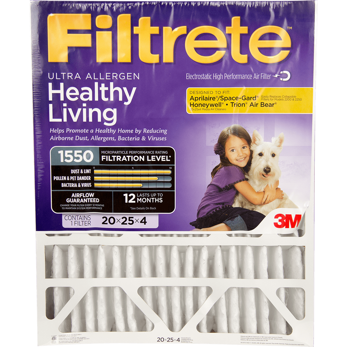"3M Filtrete Healthy Living 1550 MPR Ultra Allergen Reduction Filters for 4"""" Housings"" fi5339"