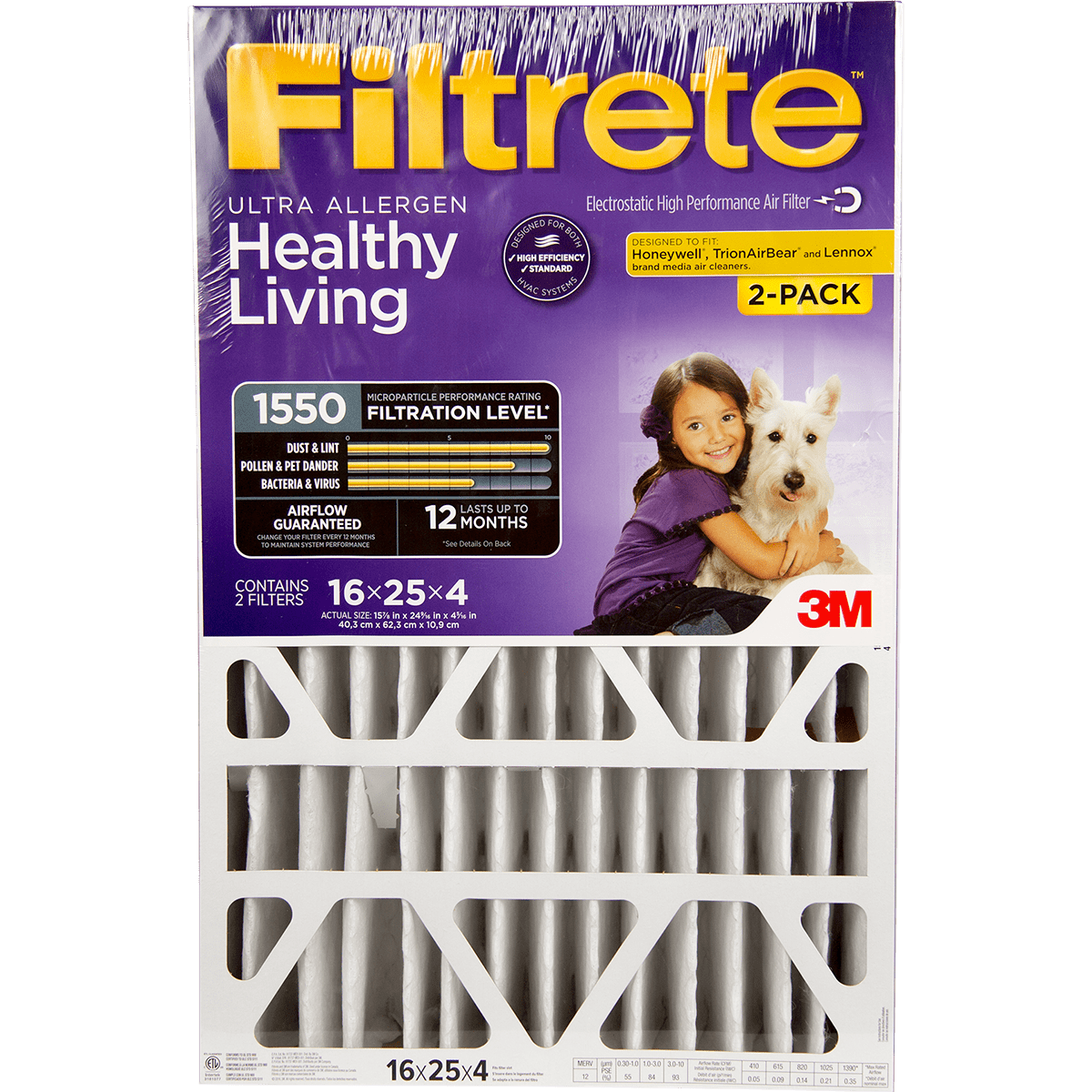 "3M Filtrete Healthy Living 1550 MPR Ultra Allergen Reduction Filters for 4"""" Housings"" fi5643"