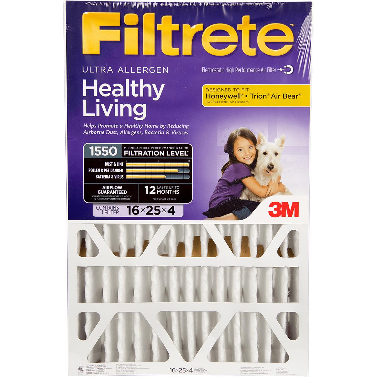 3m Filtrete Healthy Living 1550 Mpr 4-inch Ultra Allergen Reduction Filter
