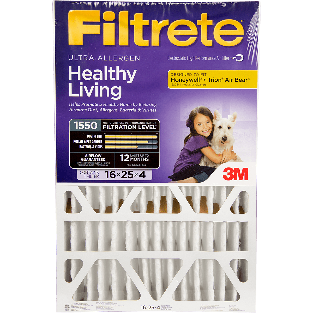 "3M Filtrete Healthy Living 1550 MPR Ultra Allergen Reduction Filters for 4"""" Housings"" fi5606"