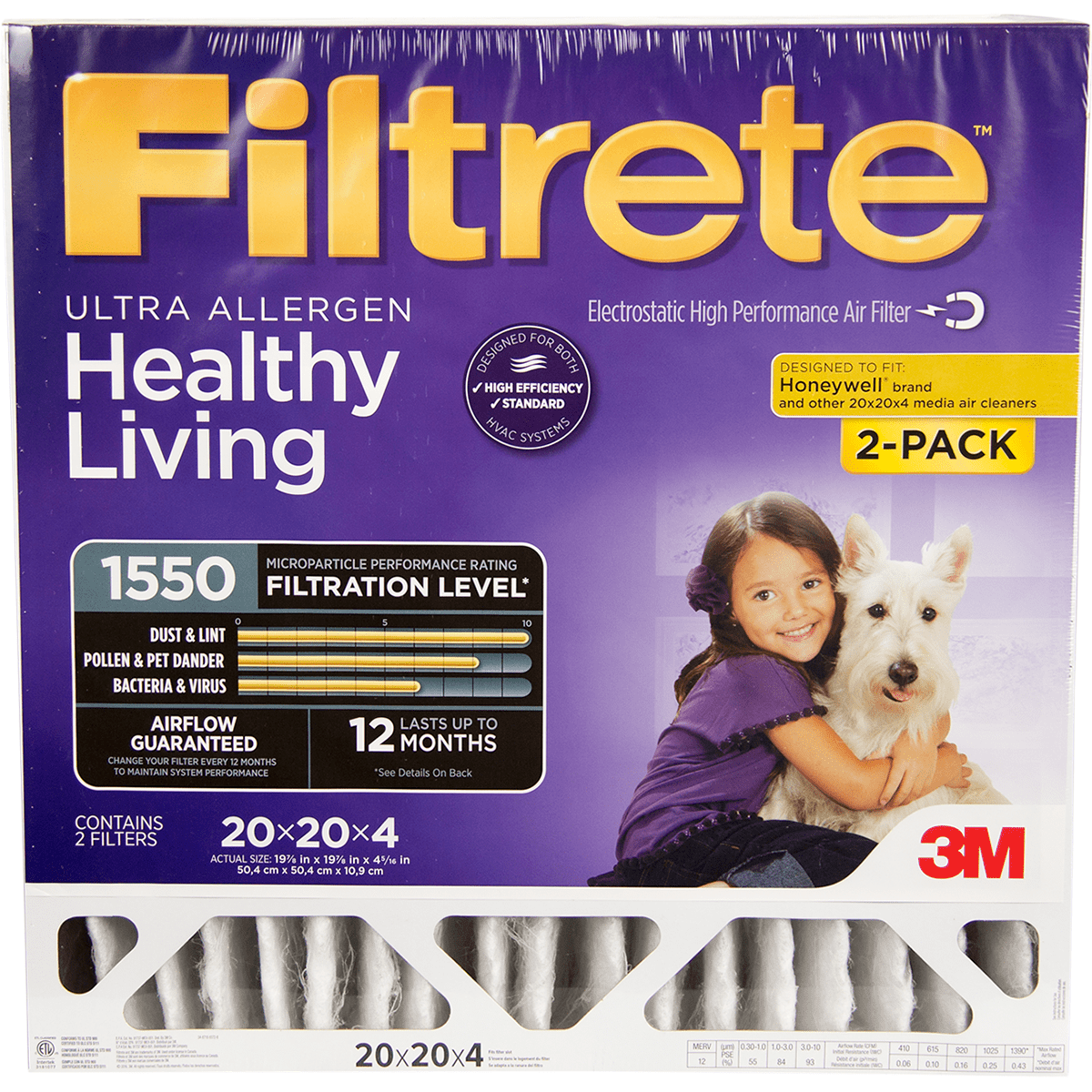 3m Filtrete Healthy Living 1550 Mpr Ultra Allergen Reduction Filters 20x20x4 2-pk