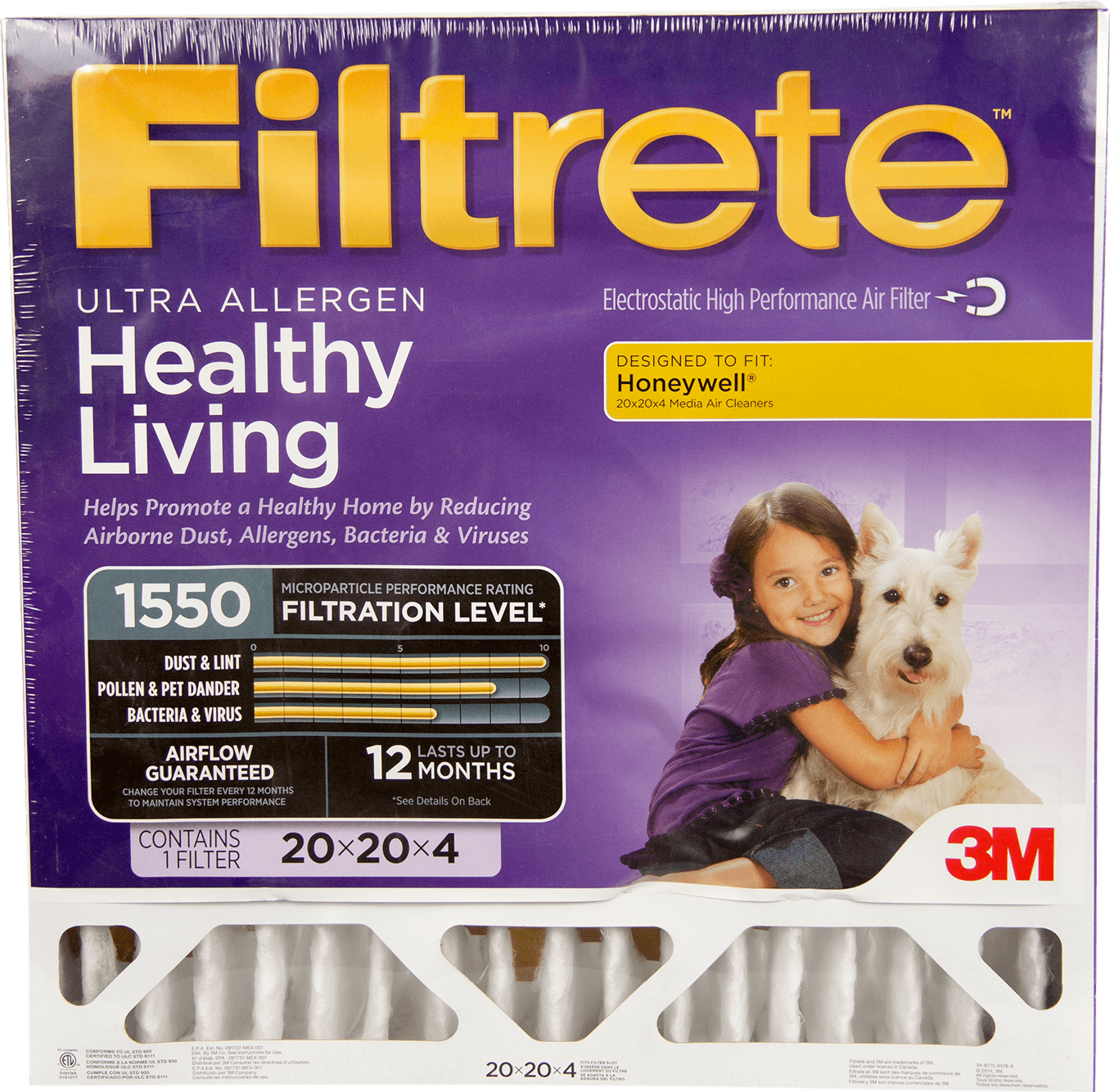 "3M Filtrete Healthy Living 1550 MPR Ultra Allergen Reduction Filters for 4"""" Housings"" fi5338"