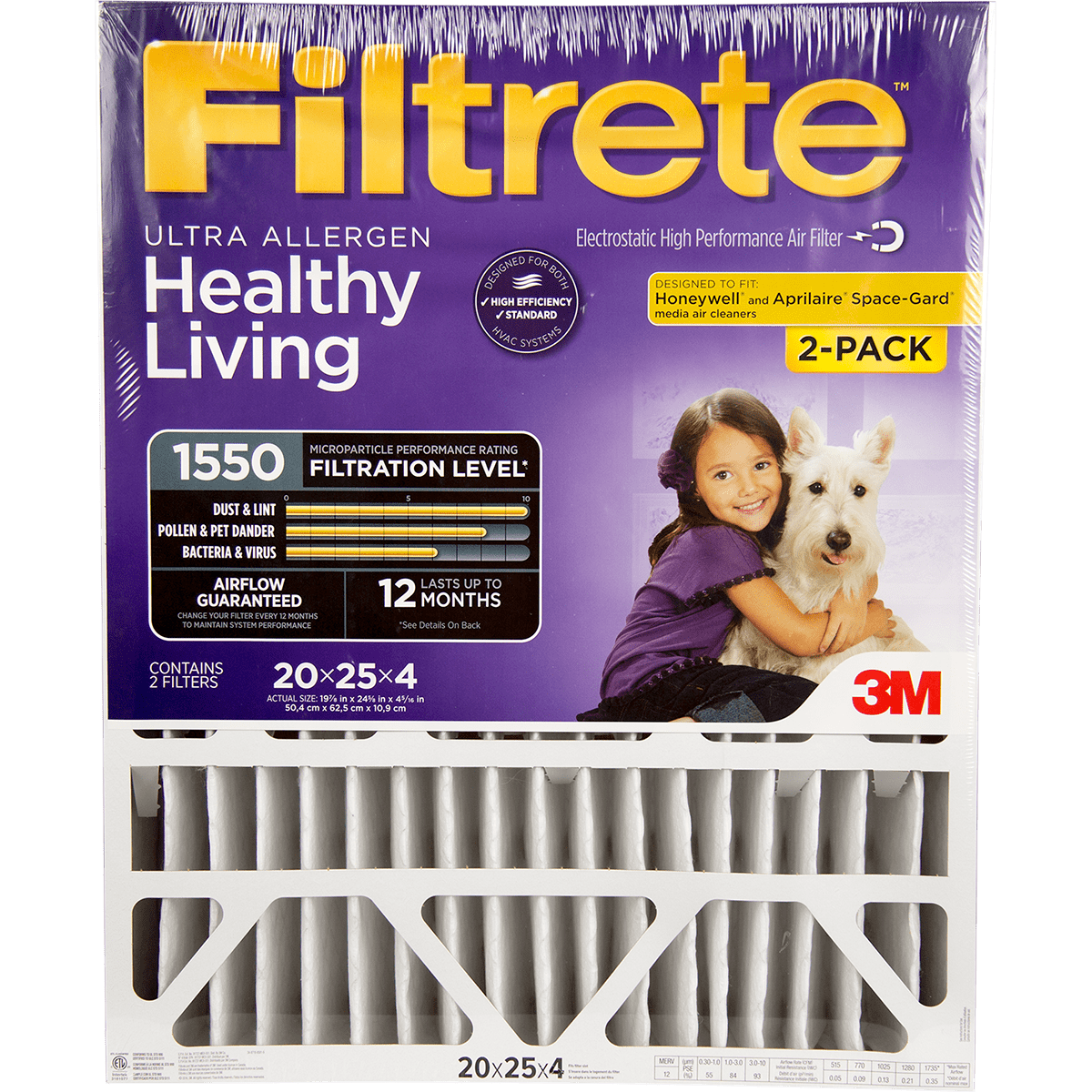 """3M Filtrete Healthy Living 1550 MPR Ultra Allergen Reduction Filters for 4"""""""" Housings"""" fi5645"""