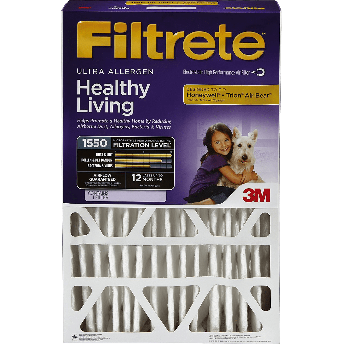 3m Filtrete Healthy Living 1550 Mpr 5-inch Ultra Allergen Reduction Filters