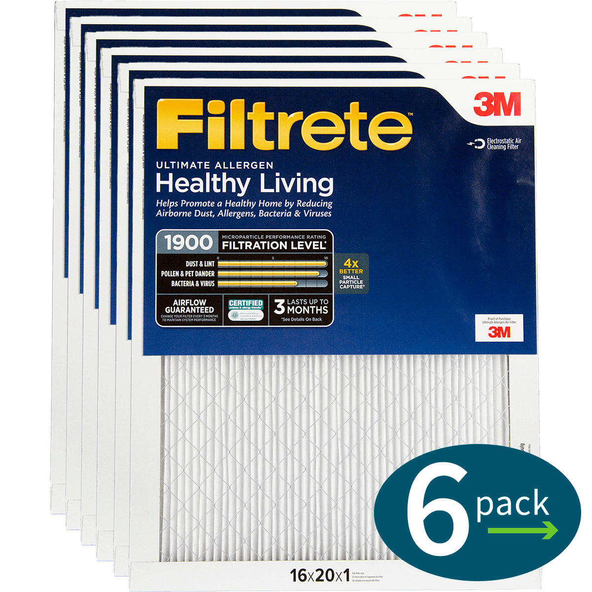 3M Filtrete Healthy Living 1900 MPR Ultimate Allergen Reduction Air Filters fi5345