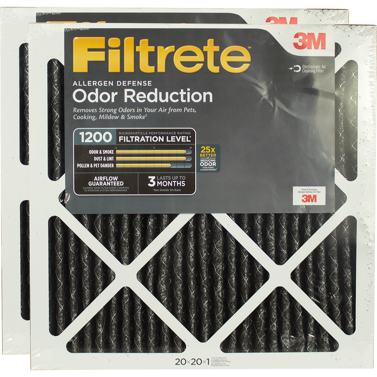 3m Filtrete 1200 Mpr Allergen Defense Odor Reduction Filters 20x20x1 2-pack