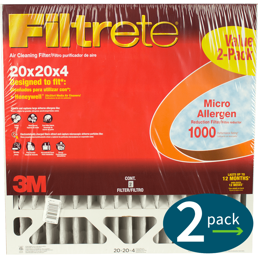 3M Filtrete MPR 1000 4-Inch Micro Allergen Defense Air Filters - 2 Pack fi5336
