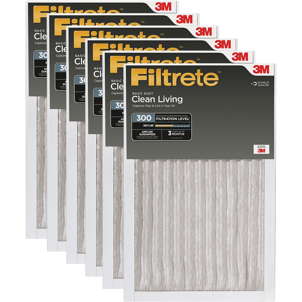 3M Filtrete 300 MPR Clean Living Basic Dust Reduction Air Filters, 1-inch 6-Pack fi5324