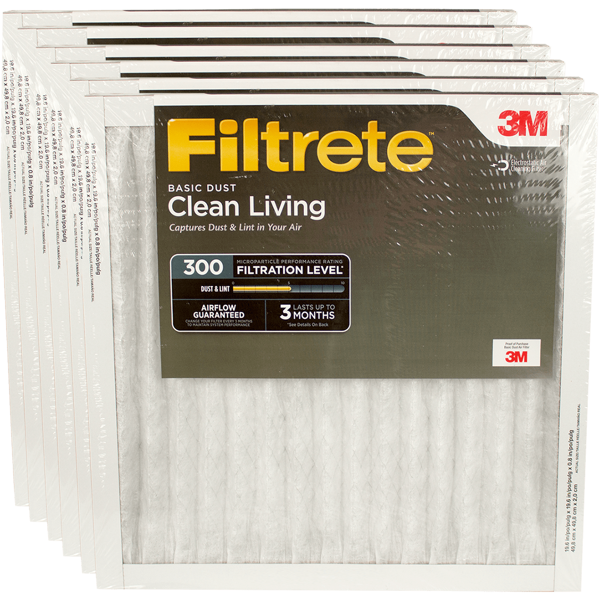 3M Filtrete 300 MPR Clean Living Basic Dust Reduction Air Filters, 1-inch 6-Pack fi5326