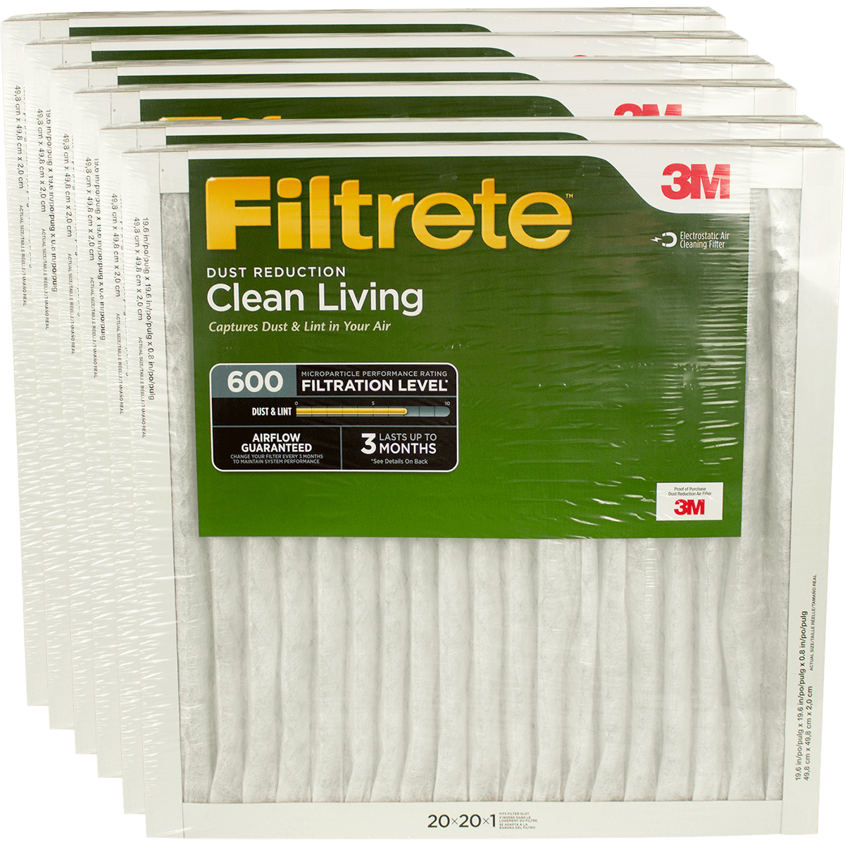 3M Filtrete Clean Living Dust Reduction MPR 600 Air Filters, 1-Inch 6-Pack fi5332