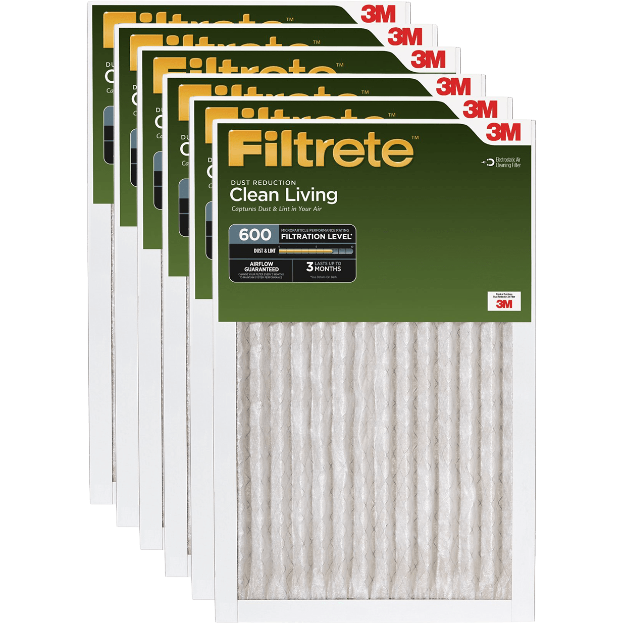 3M Filtrete Clean Living Dust Reduction MPR 600 Air Filters, 1-Inch 6-Pack fi5330