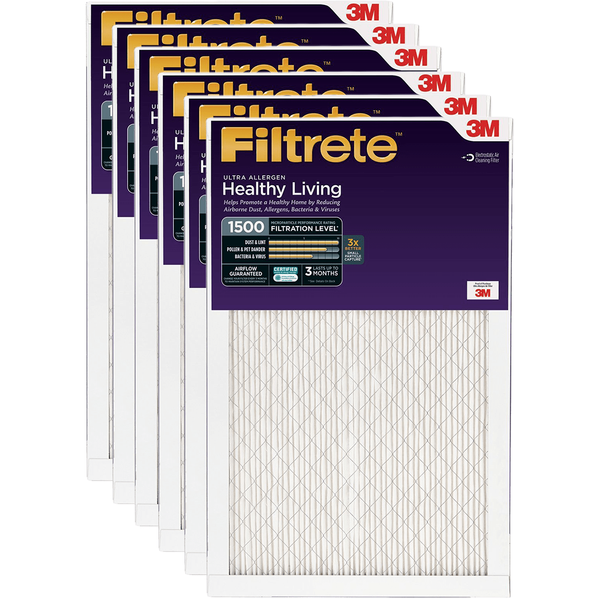 3M Filtrete Healthy Living 1500 MPR Ultra Allergen Reduction Filters, 1 Inch fi5353