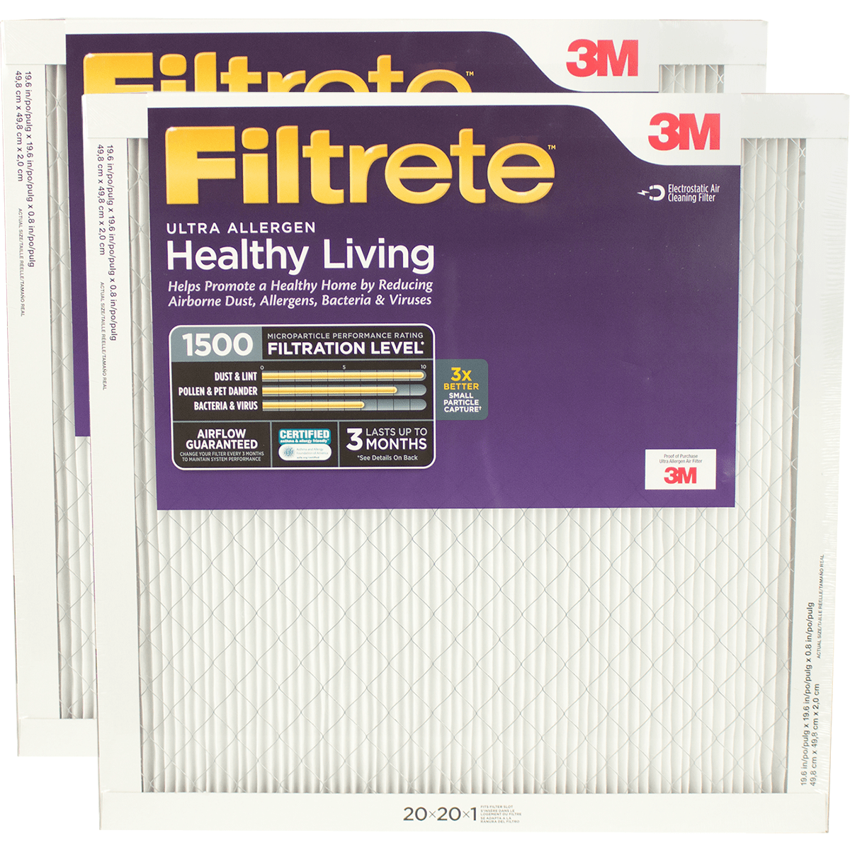 3m Filtrete Healthy Living 1500 Mpr Ultra Allergen Reduction Filters 20x20x1 2-pack