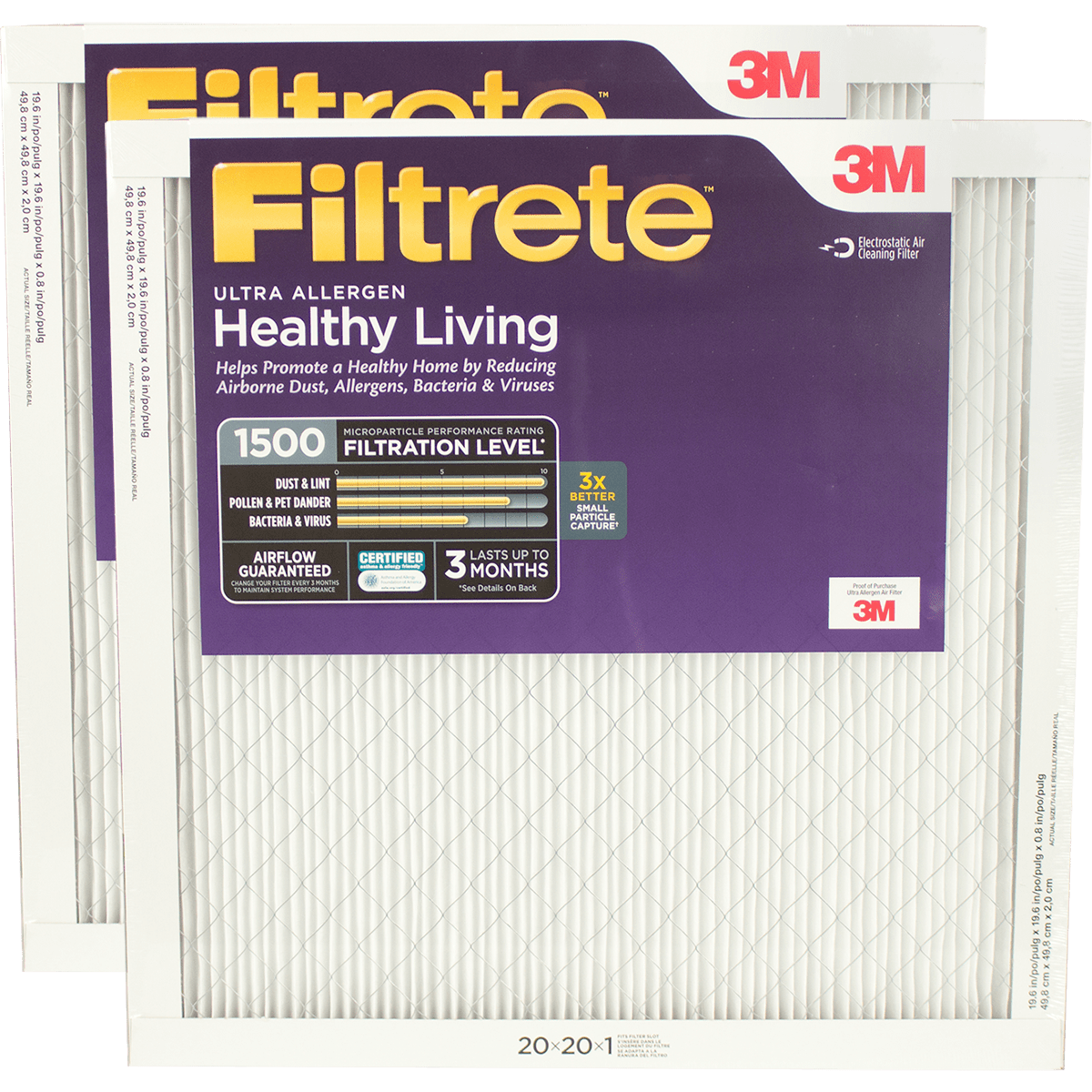 3M Filtrete Healthy Living 1500 MPR Ultra Allergen Reduction Filters, 1 Inch fi5351