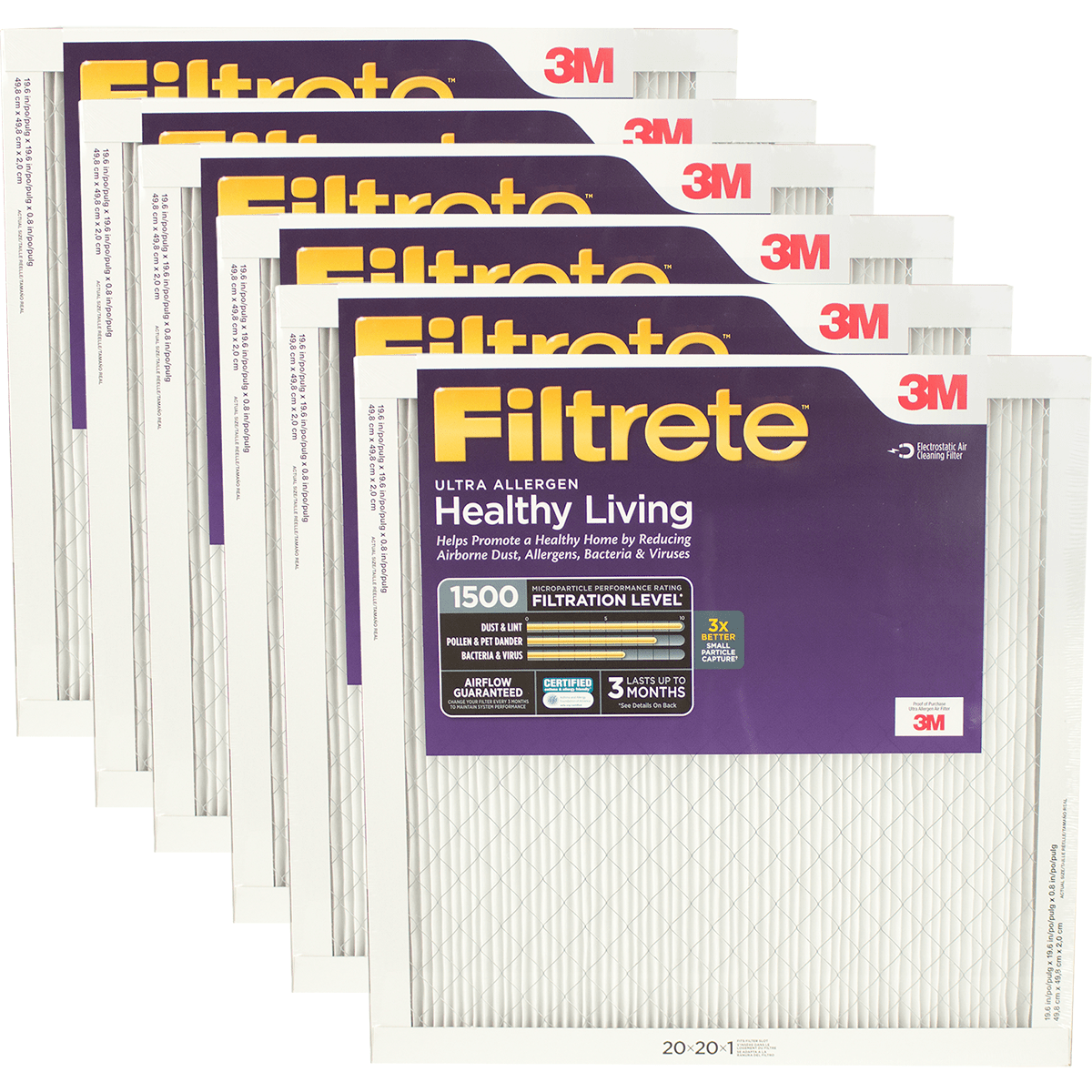 3m Filtrete Healthy Living 1500 Mpr Ultra Allergen Reduction Filters 20x20x1 6-pack