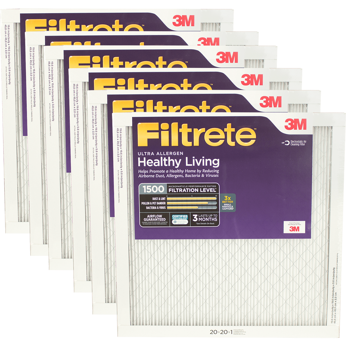 3M Filtrete Healthy Living 1500 MPR Ultra Allergen Reduction Filters, 1 Inch fi5355