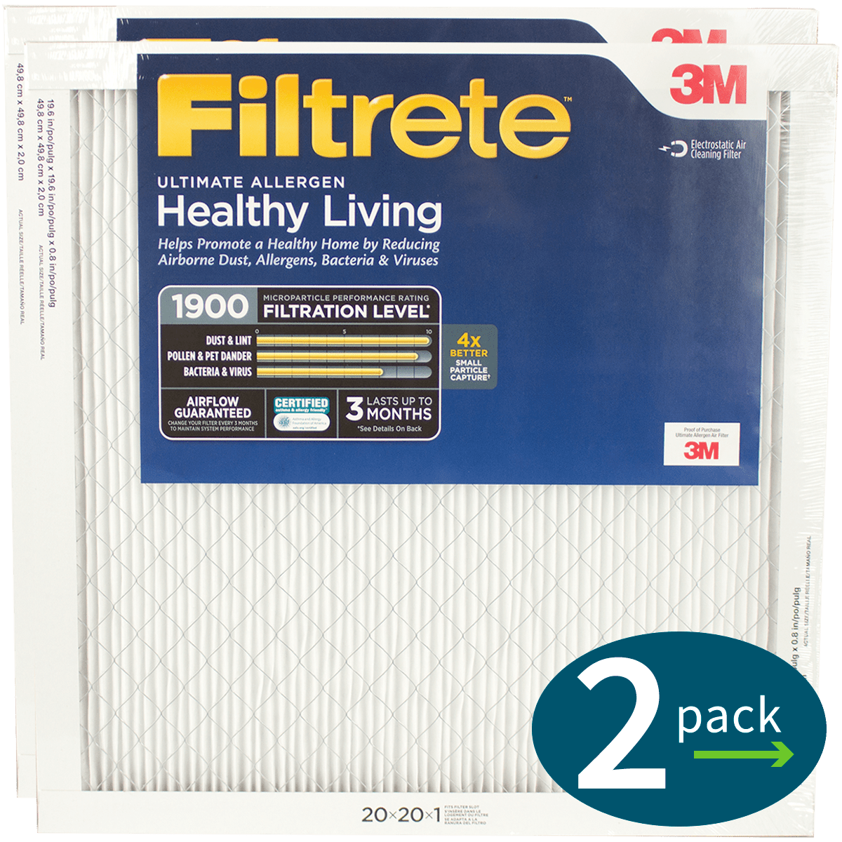 3M Filtrete Healthy Living 1900 MPR Ultimate Allergen Reduction Air Filters fi5343