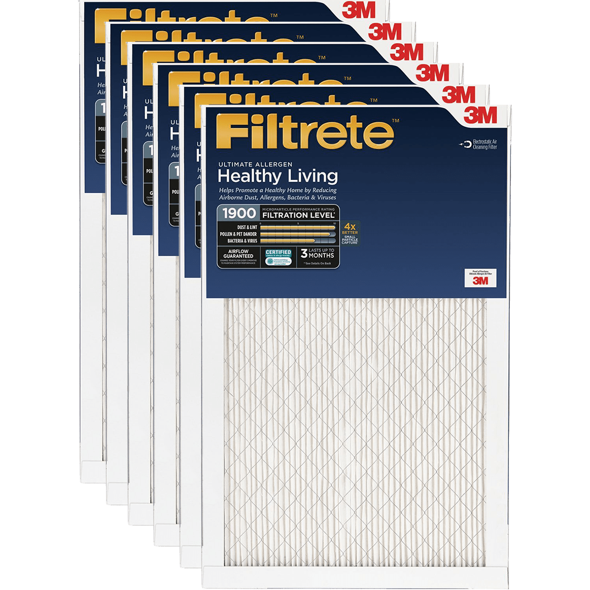 3M Filtrete Healthy Living 1900 MPR Ultimate Allergen Reduction Air Filters fi5348