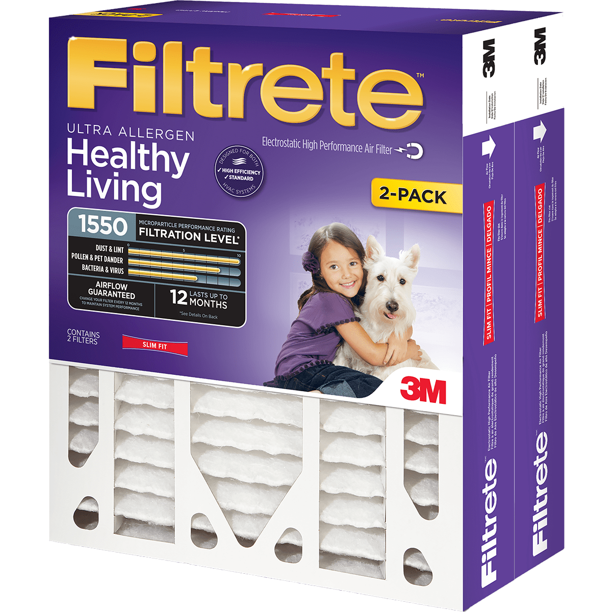 Image of 3M Filtrete Healthy Living 1550 MPR 4-Inch Ultra Allergen Reduction Slim-Fit Filters