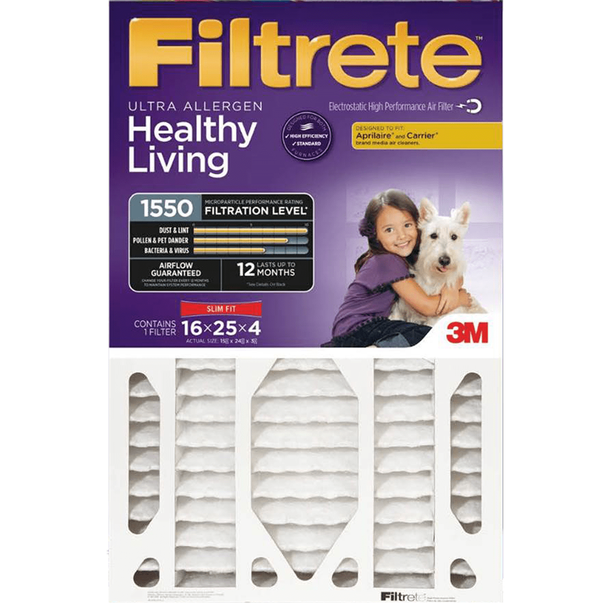 3m Filtrete Healthy Living 1550 Mpr 4-inch Ultra Allergen Reduction Slim-fit Filters