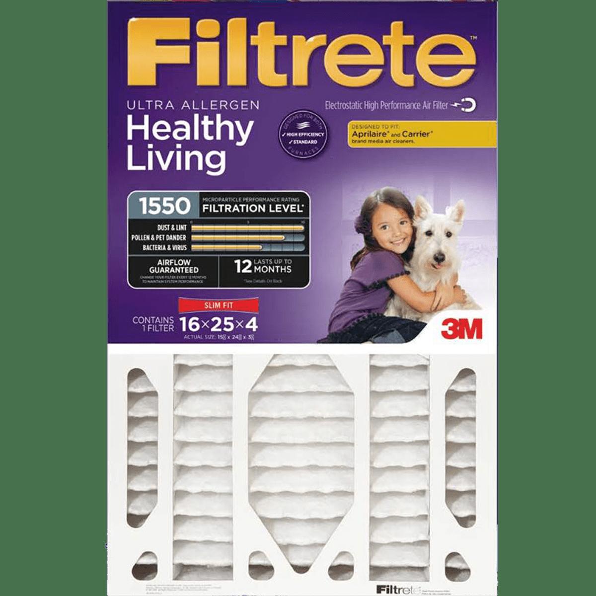 3m Filtrete Healthy Living 1550 Mpr 4-inch Ultra Allergen Reduction Slim-fit Filters