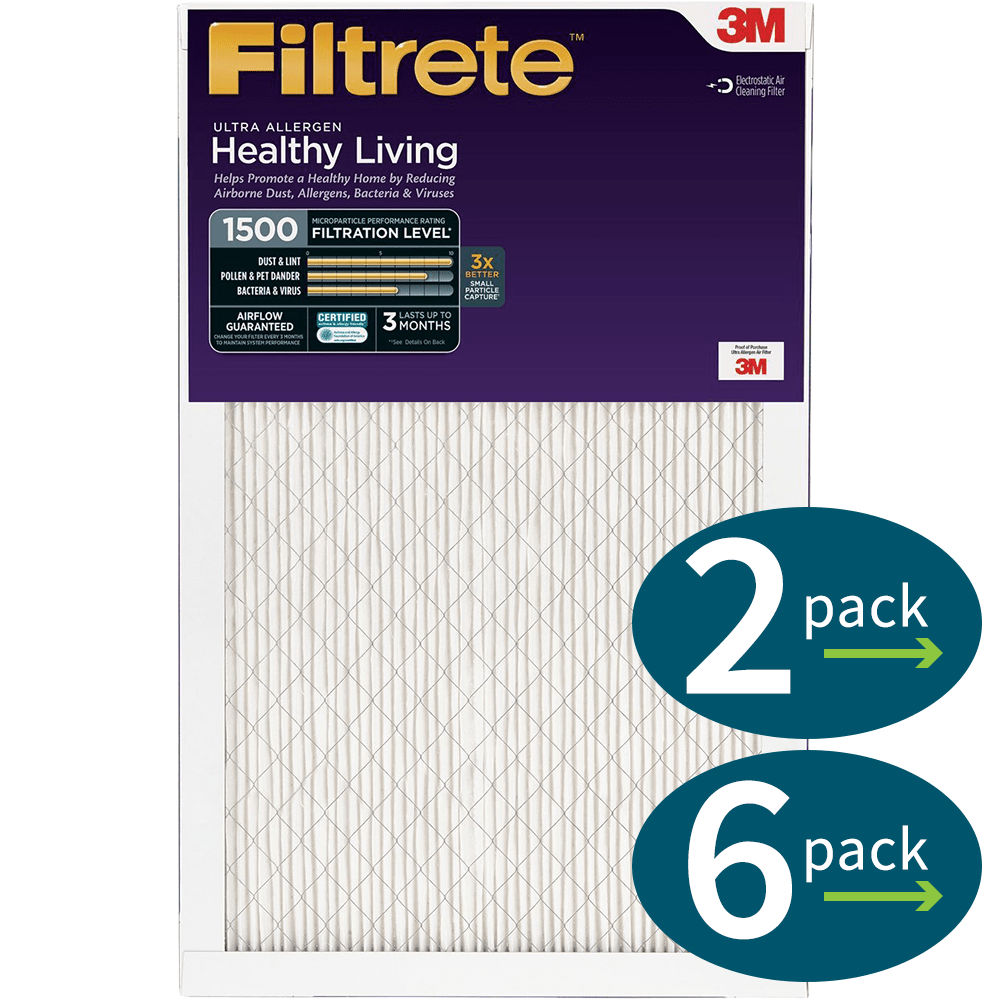 3m Filtrete Healthy Living 1500 Mpr Ultra Allergen Reduction Filters, 1 Inch