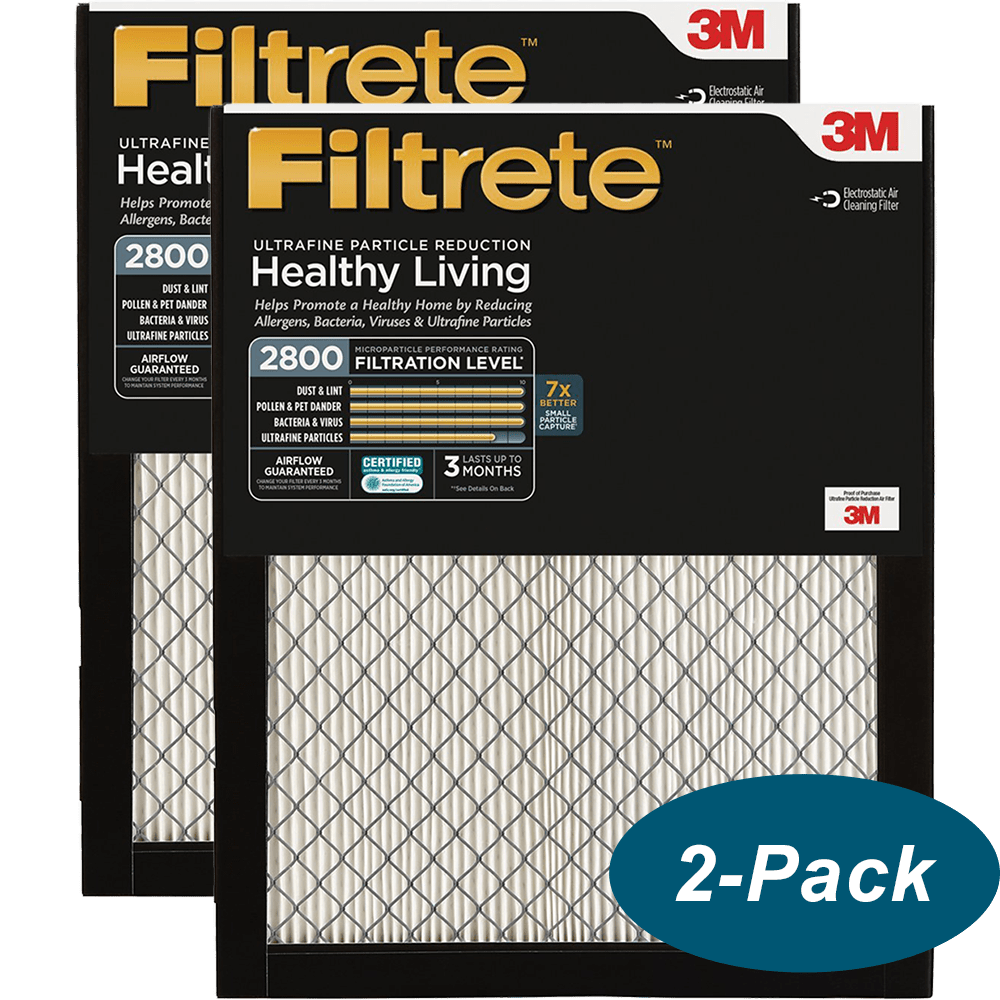 Healthy Living Ultrafine Particle Reduction Filtrete 20x25x1 2-Pack AC Furnace Air Filter MPR 2800