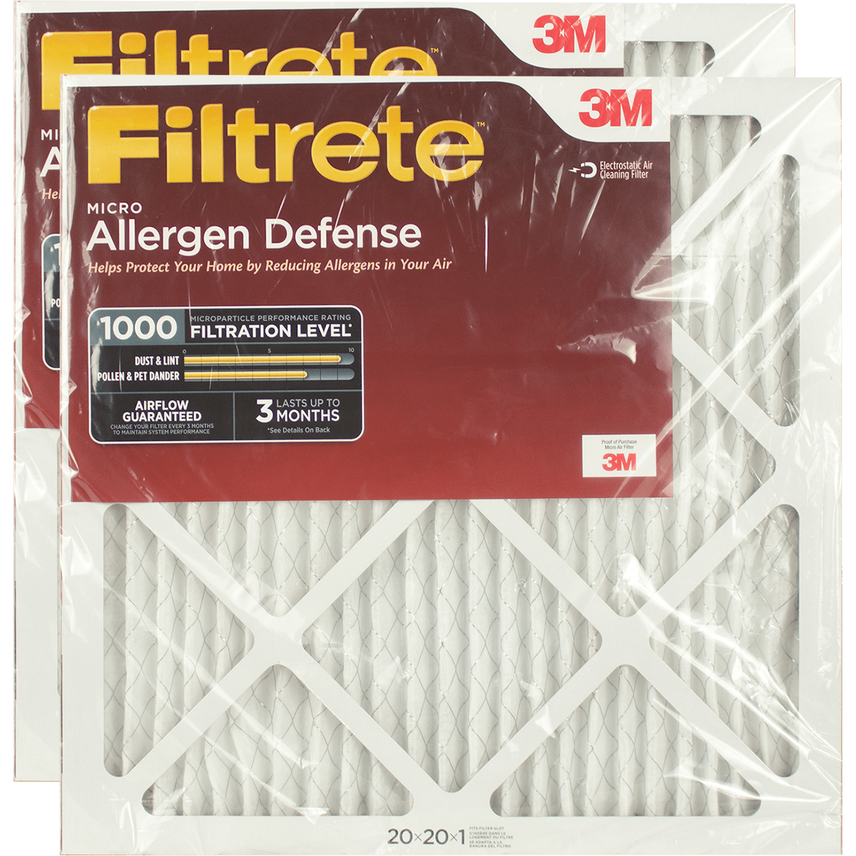 3M Filtrete 1-Inch Micro Allergen Defense MPR 1000 Air Filters - 2 Pack fi5409