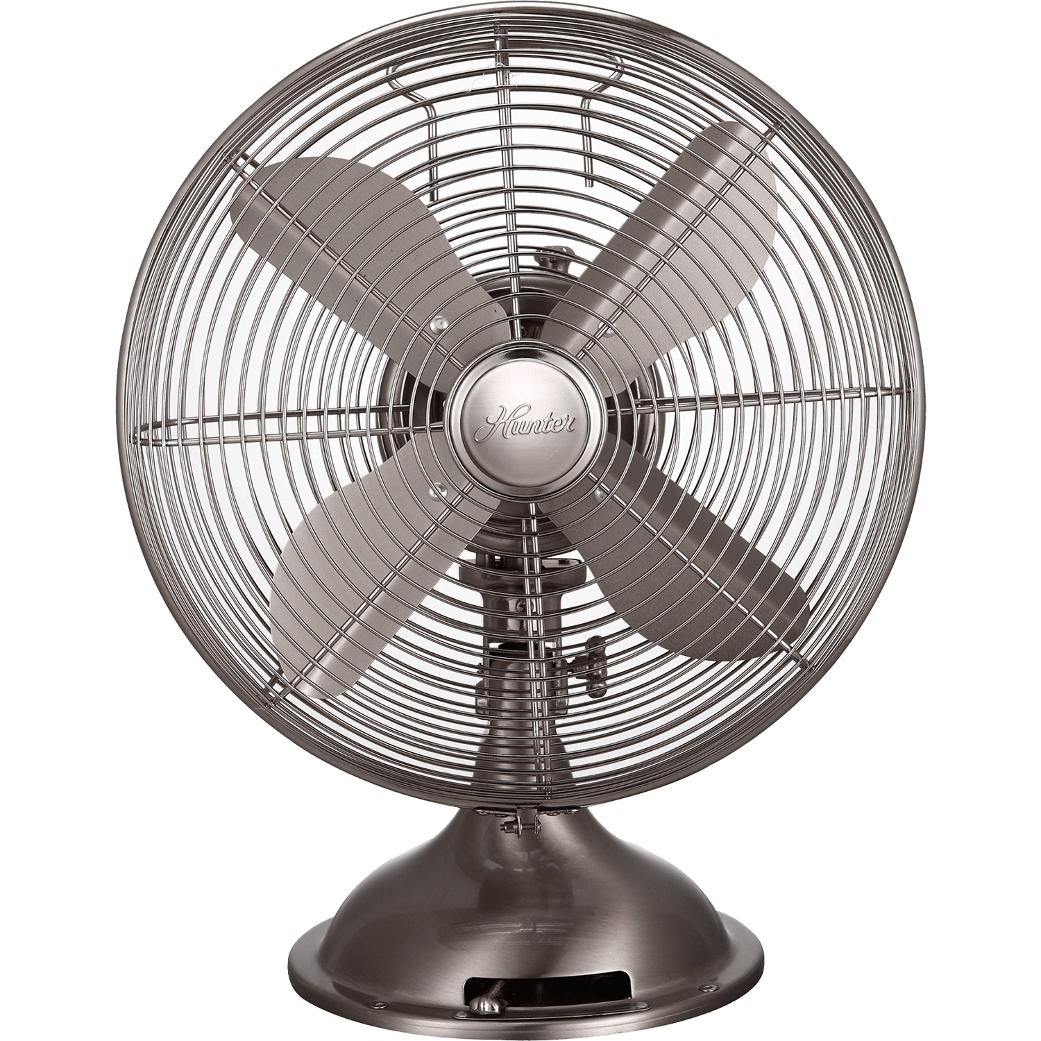 Hunter 12 Retro Table Fan Brushed Nickel Front