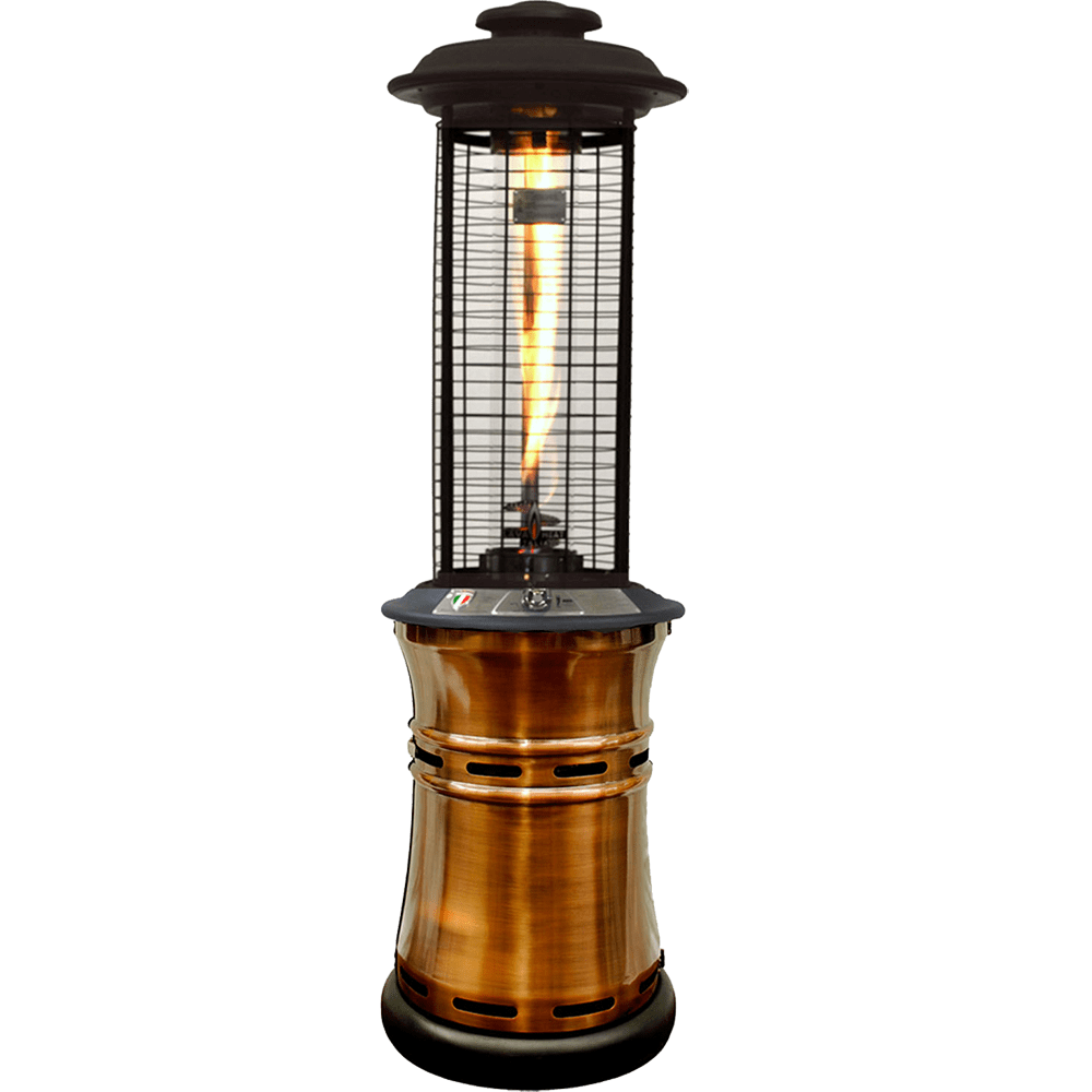an image of a lit propane gas patio heater