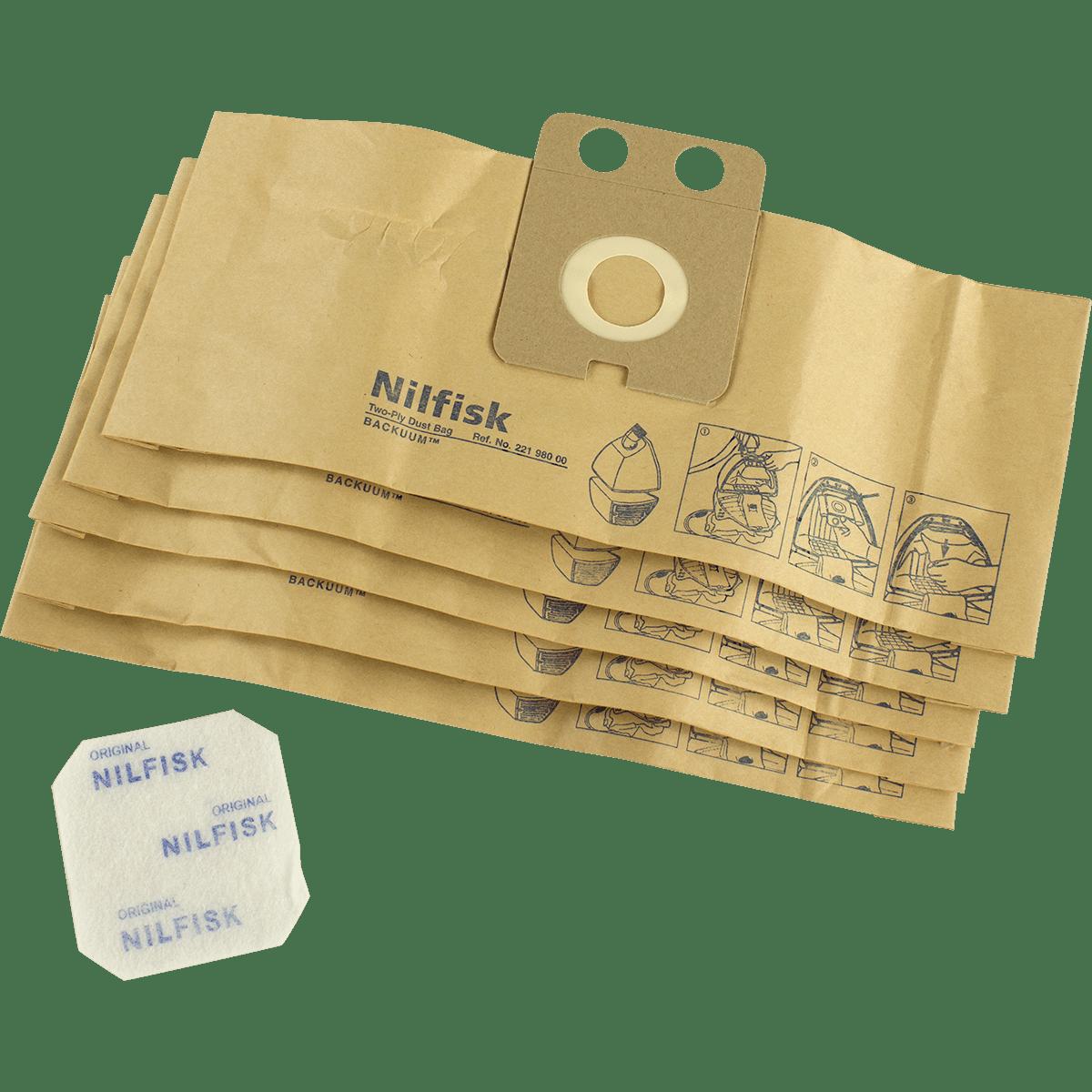Iq Air Filters >> Nilfisk Back Vacuum Paper Vacuum Bags (qty: 5) (22198000) - Free Shipping
