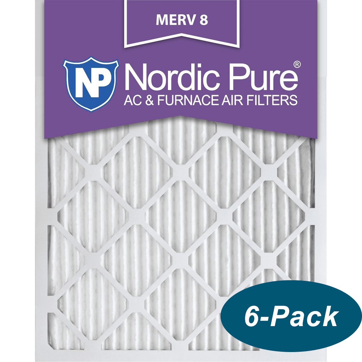 6 PACK 6 PACK Nordic Pure 16x20x1 MERV 8 Pleated AC Furnace Air Filters 6 Pack