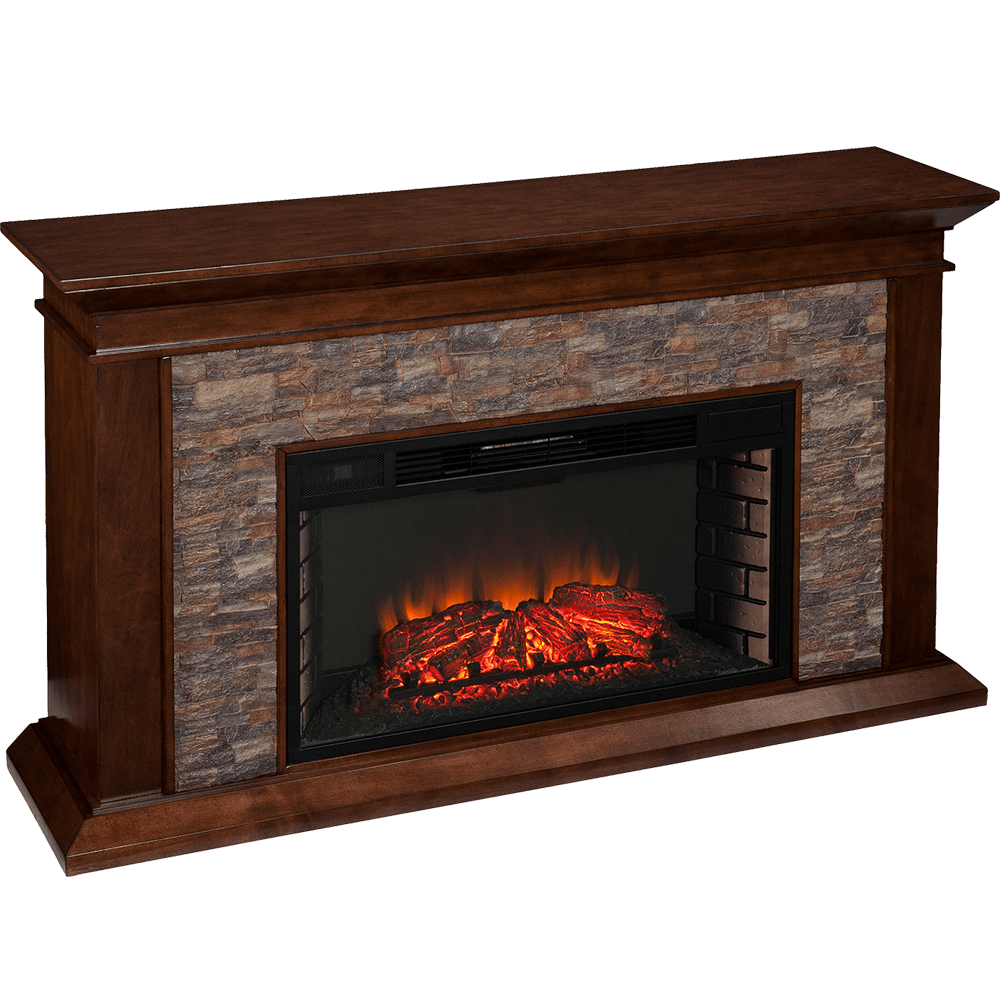 Perfect Southern Enterprises (SEI) Canyon Heights Simulated Stone Fireplace Angle  View