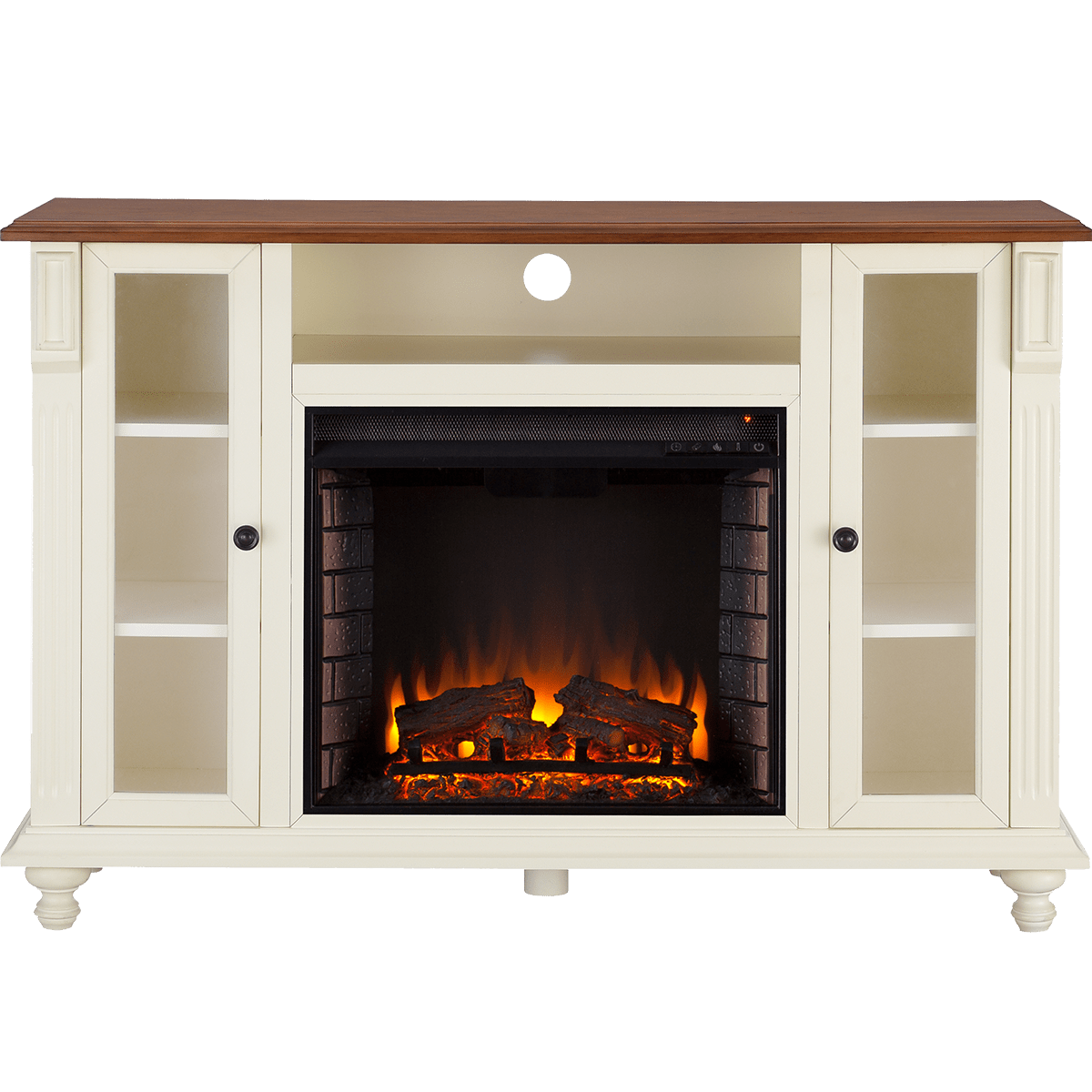 Super Southern Enterprises Carville Electric Fireplace Tv Stand Antique White W Walnut Interior Design Ideas Gentotthenellocom