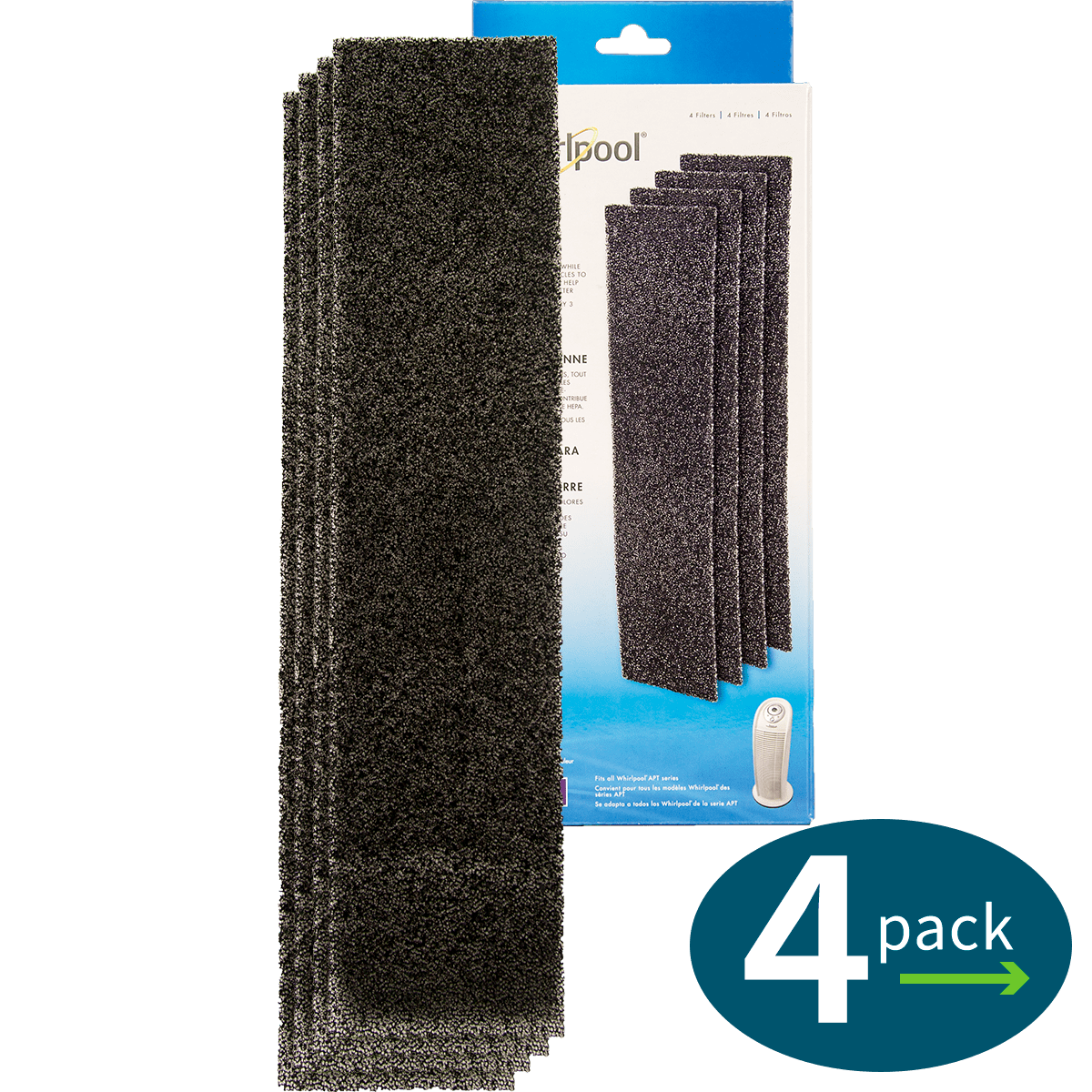 Genuine Whirlpool Carbon Pre-Filters - Tower (4-Pack) (817500) wh2638